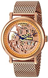 "Akribos XXIV Men's AK732RG ""Bravura"" Rose Gold-Tone Automatic Stainless Steel Watch with Mesh Bracelet"