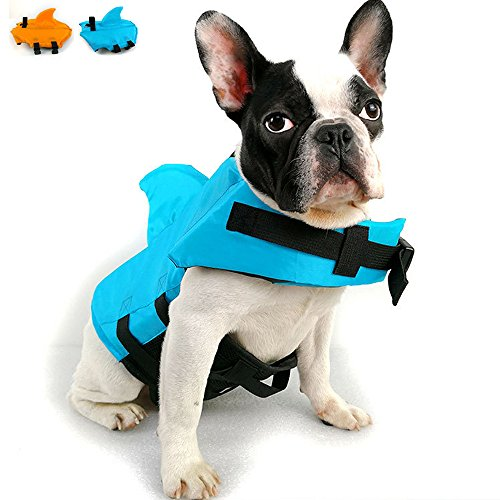 (Snik-S Dog Life Jacket- Preserver with Adjustable Belt, Pet Swimming Shark Jacket for Short Nose Dog,Upgrade Version (Pug,Bulldog,Poodle,Bull Terrier) (S, Blue))