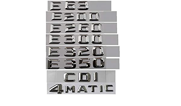 E43 E55 E63 AMG E200 E250 E300 E320 E350 E400 E180 4MATIC CDI Cromo CXYYJGY Letras de Insignia Caf/é de Voz