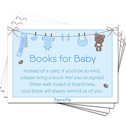 - 50 Books for Baby Shower Request Cards for Boy (50 Pack) - Bring a Book Instead of a Card - Baby Shower Invitations Inserts Games Decorations Supplies