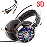 Gaming Headset for PS4 PC Nintendo Switch Xbox One USB Gaming Headphones with Mic, 7.1 Virtual Surround Sound 3D Vibration with 4 Speaker LED Light