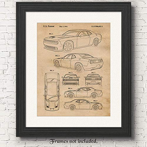 Original Dodge Challenger SRT Hellcat Patent Poster Print - Set of 1 (One 11x14) Unframed Picture - Great Wall Art Decor Gifts Under $15 for Home, Office, Studio, Man Cave, Garage, Cars & Coffee Fan