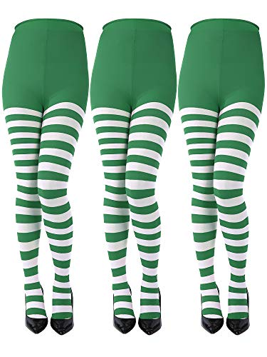 Sumind 3 Pairs St. Patrick's Day Full Length Striped Tights Thigh High Stocking for Women St Patrick's Day (Green, White, Kids Size)