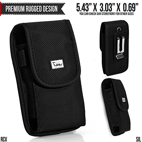 HTC Inspire 4G Belt Pouch, TMAN [Large Rugged Canvas Vertical] with Otterbox, Lifeproof, Battery Case on - Metal Clip Holster / Hook Loop Closure Cover with Belt Loop