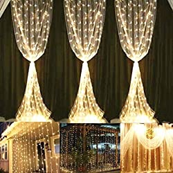Yuliang Led Curtain Lights 300led 3m3m9.8ft9.8ft Christmas Curtain String Fairy Lights For Home, Garden, Kitchen, Outdoor Wall, Party, Wedding, Window Decorations 110v Us Plug
