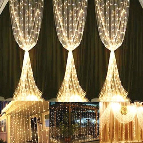 YULIANG Led Curtain Lights 300led 3m3m/9.8Ft9.8Ft Christmas Curtain String Fairy Lights for Home, Garden, Kitchen, Outdoor Wall, Party, (Wedding Wall Drapes)