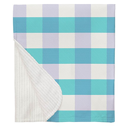 Carousel Designs Teal and Lilac Buffalo Check Crib Blanket