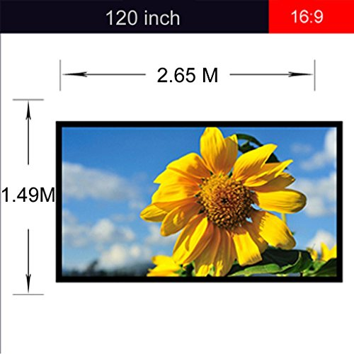 Excelvan 120' 16:9 HD Projector Screen Outdoor/Indoor Portable and Collapsible Projection Screen Fabric Matte White 104'x58' Viewing Area