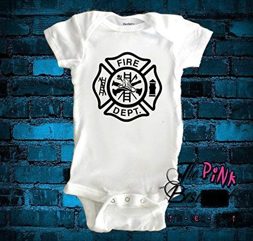 HANDMADE Fireman Fire Fighter Firefighter Fire Dept Department Babies Baby Clothes Clothing Unisex Boys Girls Newborn Infant Shower Gift Jumper Jumpsuit Bodysuit