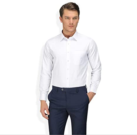 QJXSAN Camisa de Manga Larga for Hombre, Camisa Blanca Profesional Ajustada de Algodón Profesional Ajustada (Color : White, Size : XS): Amazon.es: Hogar