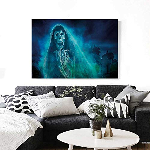 BlountDecor Halloween Canvas Wall Art for Bedroom Home Decorations Gothic Dark Backdrop with a Dead Ghost Skull Mystical Haunted Horror Themed Digital Art Art Stickers 48