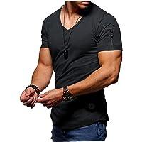 EElabper Camiseta de manga corta para hombre con cuello en V