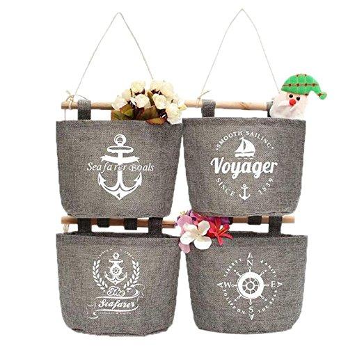 wicemoon 4pc lino y algodón único armario de bolsillo organizador de bolsa para colgar detrás de la puerta pared almacenamiento cesta cubo