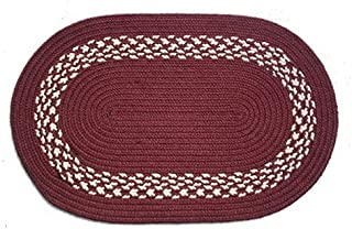 product image for Oval Braided Rug (5'x7'): Burgundy,- Burgundy & Cream Band
