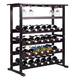 24 Bottle Wood Wine Rack Holder Storage Shelf Display w/ Glass Hanger Burgundy New #521
