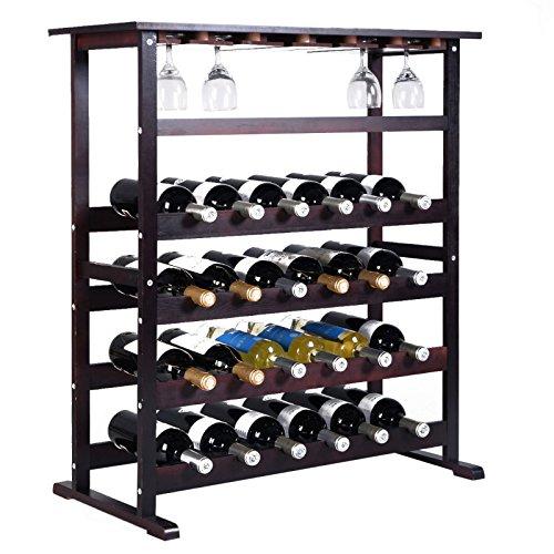 24 Bottle Wood Wine Rack Holder Storage Shelf Display w/ Glass Hanger Burgundy New - Brisbane St Queen
