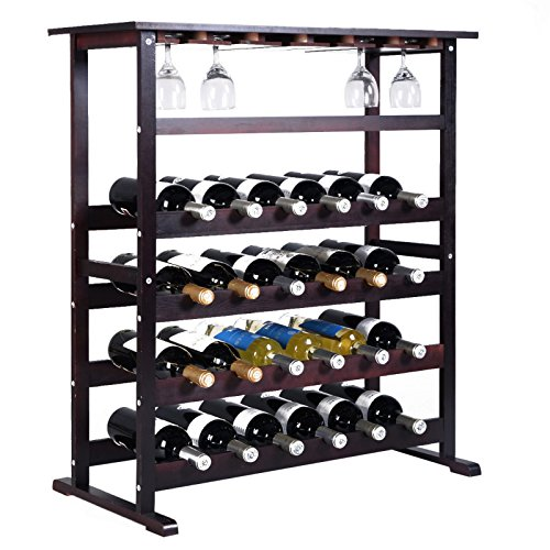 24 Bottle Wood Wine Rack Holder Storage Shelf Display w/ Glass Hanger Burgundy New - Orillia Glasses