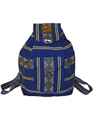 Baja Backpack Ethnic Woven Mexican Bag - Cobalt White Black - Medium
