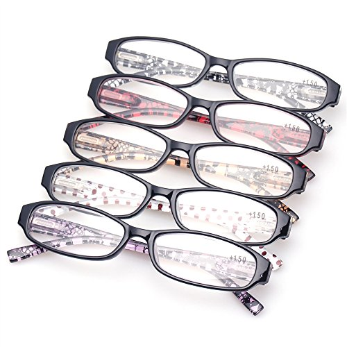 Reading Glasses Comb Pack of Multiple Classic Men and Women Readers Spring Hinge Glasses (5 Pack Mix Color, 1.75) by Kerecsen (Image #7)