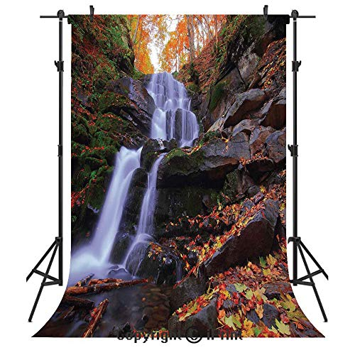 Copper Waterfalls Leaf (Outdoor Photography Backdrops,Mountain Waterfall Autumnal Forest Fallen Leaves Moss Cascade Serene View,Birthday Party Seamless Photo Studio Booth Background Banner 6x9ft,Orange Green Brown)