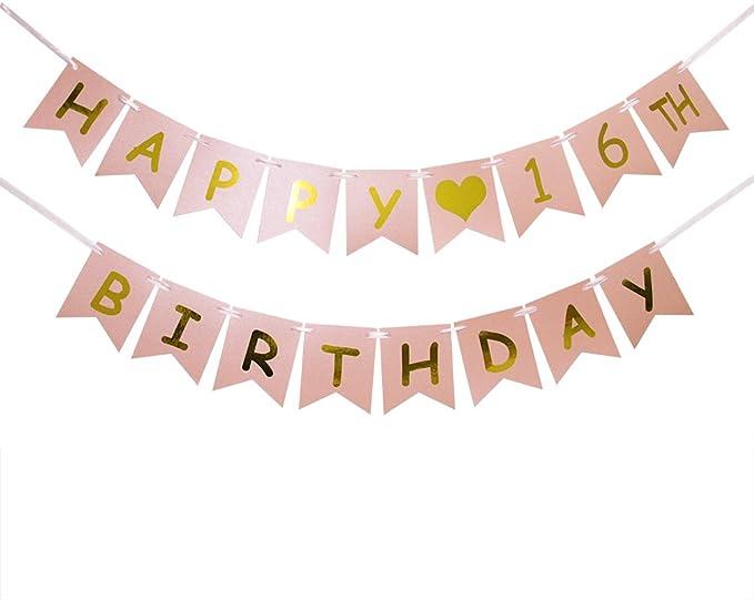 Amazon.com: Happy 16º cumpleaños Banner – Rosa y Dorado 16º ...