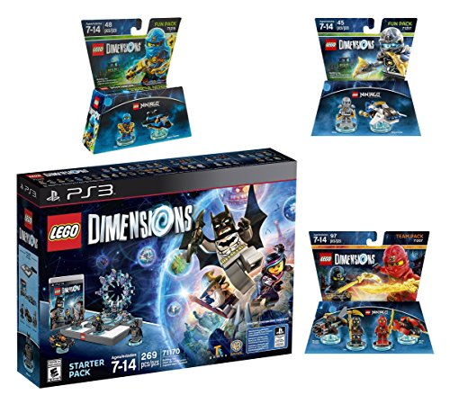 Lego Dimensions Starter Pack + Ninjago Team Pack + Jay Fun Pack + Zane Fun Packs for Playstation 3 PS3 Console by WB Lego