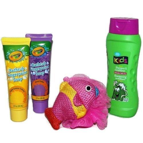 (Kids Bath Set Tub Fingerpaint Soap Body Doodlers Scrubby Sponge 2-in-1 Shampoo Conditioner Kit Gift Bundle)