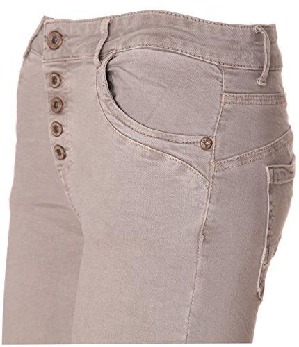 Basic 5 knopf Da jeans Boyfriend Donna Hellgrau de BqzBxwf