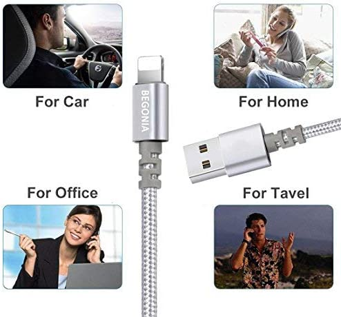Silver Phone Charger Begonia Nylon Braided USB Cable 3PACK 6FT Pod and More Fast Charging Cable Cord Compatible with Phone,Pad