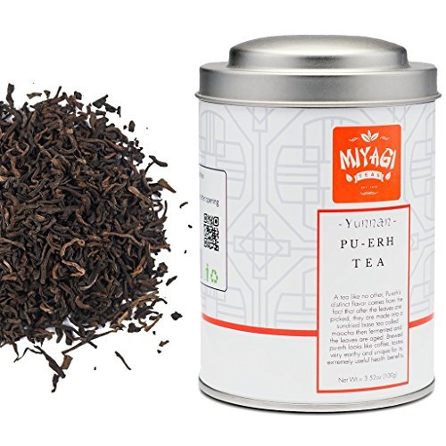 - MIYAGI TEA - Premium Yunnan Pu Erh Loose Leaf Tea - 3.52oz (100g) / tin can