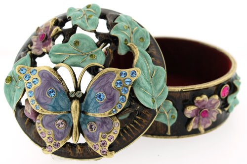 - Bejeweled Enameled Butterfly Large Trinket Box W/Swarovski Crystals