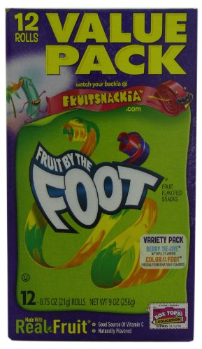 Betty Crocker Fruit Snacks, Fruit by the Foot, Variety Snack Pack, 12 Rolls, 0.75 oz Each (Pack of 6)