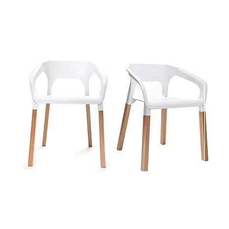 Miliboo - Gruppo di due sedie design scandinave bianche HELIA ...