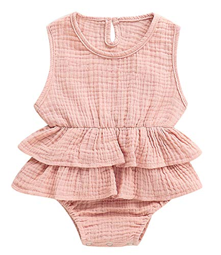 Adnee Newborn Infant Baby Girl Romper Bodysuit Sleeveless Ruffle Outfit Summer Clothes - Infant Bubble