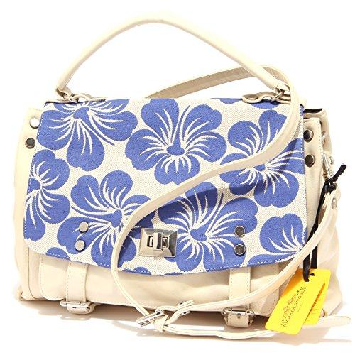 9716R borsa donna MARKS&ANGELS LUCY MEDIUM BICOLORE beige/blu tracolla bag woman Beige/Blu