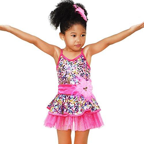 MiDee Girls' Rainbow Square Sequins Ballet Costume Dance Dress (LC, Rose)]()