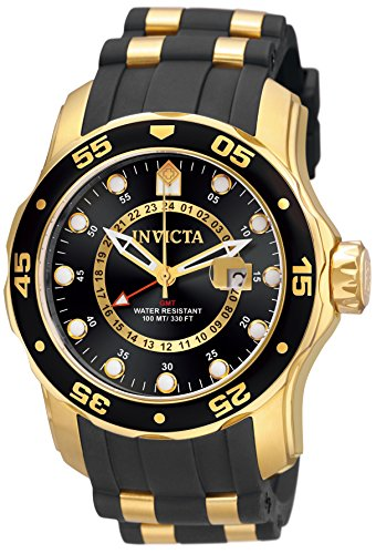 Invicta Men's 6991 Pro Diver Collection GMT 18k Gold-Plated Stainless Steel Watch with Black Band ()