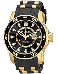 Men's 6991 Pro Diver Collection GMT 18k Gold-Plated Stainless Steel Watch with Black Band