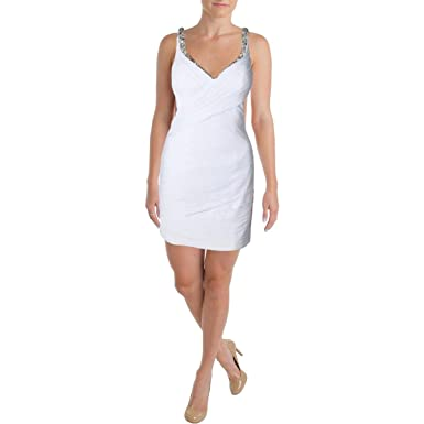 Jvn By Jovani Womens Rhinestone Pleated Semi Formal Dress White 0 At