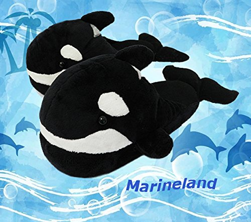 Friendly House Women's Fluffy Novelty Animal Slippers, Black Whales (US Lady Size 7-9, Black) (Whale Slippers)