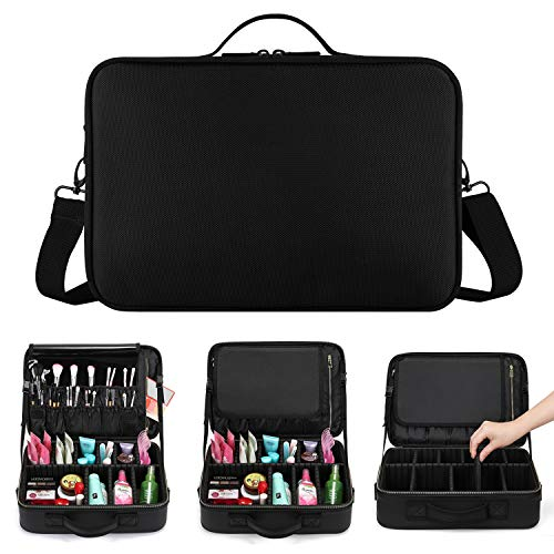 Magicfly 3 Layers Makeup Bag, Cosmetic Case with Compartments Brush Holders, Travel Makeup Train Case Organizer with Adjustable Dividers for Cosmetics, Makeup Brushes, 13.6 X 9.3 X 4.7 Inch, Black