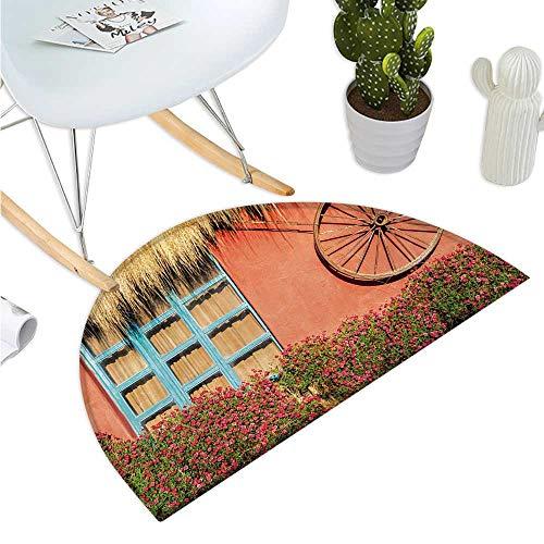 - Barn Wood Wagon Wheel Half Round Door mats Country House in Ecuador Red Wall Window Summer Flowers Straw Roof Bathroom Mat H 31.5