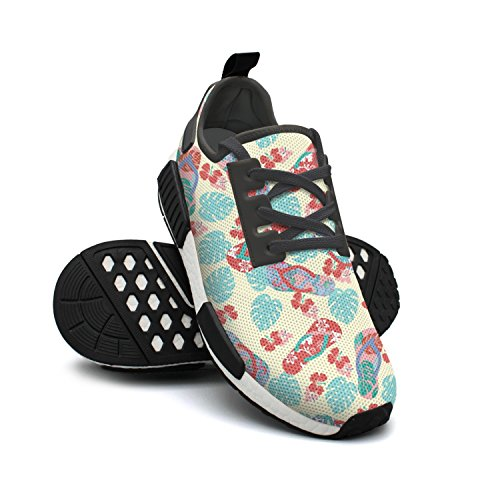 Shoes Red Womens and Flower Fashion Flip Shoes Breathable Lightweight Sneakers Tennis Flops Rendy Mesh qxOcI6wFH