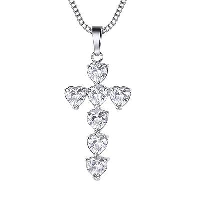 5ae06c2eba5d6 Suplight Collier Pendentif Croix Femme Bijoux Plaqué Or Blanc Serte de  Pierre Forme Coeur Chaîne Maille