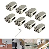 AUTOUTLET 8PCS 10-12MM Stainless Steel Glass Clamp Glass Shelf Clip Bracket Holder with Hexagon Driver for Handrail Balustrade Staircase