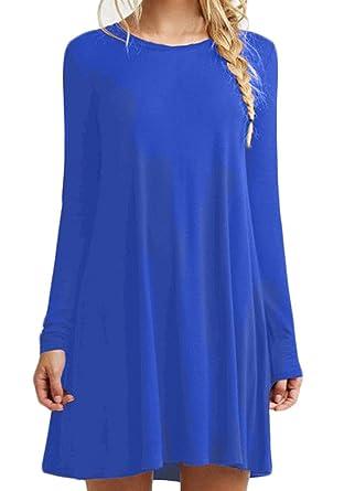 19af28837 Vestidos Mujer Elegantes Cortos Casual Fiesta Línea A Vestido Camiseros  Manga Larga Cuello Redondo Color Sólido Camisetas Vestir Primavera Otoño  Informales ...