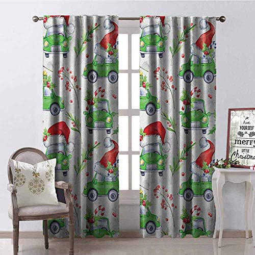 Scarlet Pinstripe Short - GloriaJohnson Cars Blackout Curtain Noel New Year Celebrations Christmas Composition with Green Cars Santa Hats 2 Panel Sets W42 x L84 Inch Lime Green Scarlet