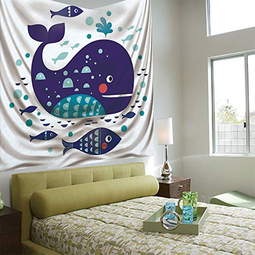 Ocean Pump Runner - AngelSept Tapestry Wall Hanging 3D Printing Tree Tapestry Wall TapestryLiving Room Bedroom,Whale Decor,Navy Sea Theme Cartoon Big Fish with Others in Ocean Swimming Image,Sky Blue and Navy Blue