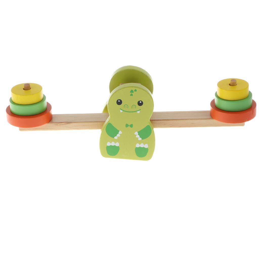 FLAMEER Kinder Montessori Balance Holzwaage Wippe Lernspielzeug - 23x6x7,5cm