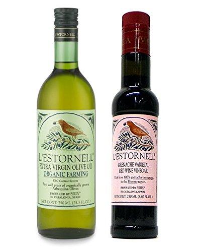 L'Estornell Spanish Extra Virgin Olive Oil & Red Wine Vinegar Gift Set (Red Wine For Gift)